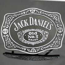 Silver & Black 70s Men Western Jack Daniels Element Emboss Enamel Belt Buckle W7 Photo