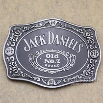 Silver & Black 70s Men Western Jack Daniels Element Emboss Enamel Belt Buckle Photo