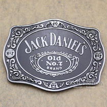 Silver & Black 70s Men Western Jack Daniels Element Emboss Enamel Belt Buckle Photo
