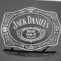 Silver & Black 70s Men Western Jack Daniels Element Emboss Enamel Belt Buckle W7 Photo