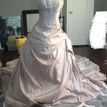 Silver Blush Pink Wedding Gown Train Beaded Sz 8 Ball Untraditional Unique Bride Photo
