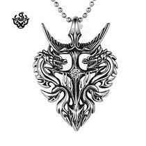 Silver Dragon Pendant Swarovski Crystal Stainless Steel Necklace Soft Gothic Photo