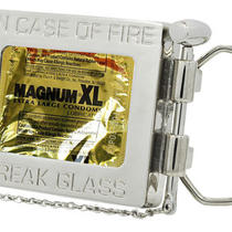 Silver in Case of Fire Break Glass Belt Buckle Condom Holder Funny Sexy Adult Photo