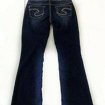 Silver Jeans Aiko Bootcut Womens Sz 27 Dark Wash Thick Stitch Distress Stretch Photo