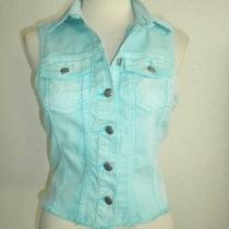 Silver Jeans Co. Size Medium Light Aqua Blue Button Front Denim Vest Photo