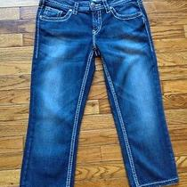 Silver Jeans Company Aiko Capri Size 30 Wide Stitch Cropped Jeans Distressed Photo