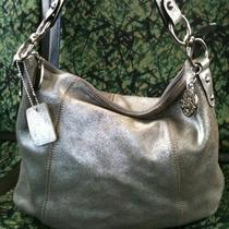 Silver Leather Hobo by Solina Euc Free Shipping Photo