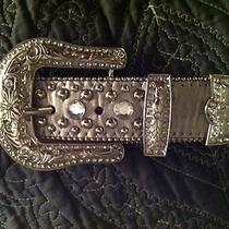 Silver Metallic Rhinestone Studded Belt Sz L Fancy Buckle and Tab Photo