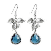 Silver Orchid & Blue Jewel Drop Earrings-Jewellery-Crystal-Bridal Gift-Premium Photo