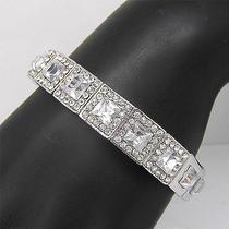 Silver Plate Elegant Bracelet Bangle Cuff Swarovski Crystal B201 Photo