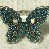 Silver Plated Aqua Blue Crystal Butterfly Adjustable Cocktail Ring Photo