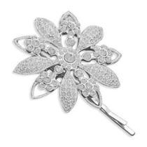 Silver Plated Swarovski Crystal Flower Fashion Bobby Pin Free Shipping Photo