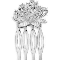 Silver Plated Swarovski Crystal Flower Fashion Hair Comb W9224 Photo
