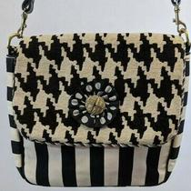 Silver Plum Bag Black White Fabric Leather Purse Handbag Hobo Houndstooth Usa Photo