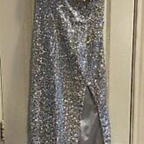 Silver Sequined and Rhinestone Prom Dress Size 2 in Excellent Condition Photo