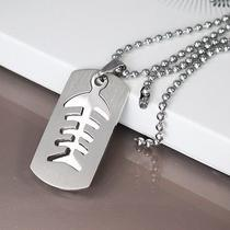 Silver Surfer Dog Tags Fish Bones Fossil Pendant Mens Ball Chain Necklace New Photo