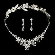 Silver Swarovski Crystal Butterfly Bridal Necklace Earring & Tiara Wedding Set Photo