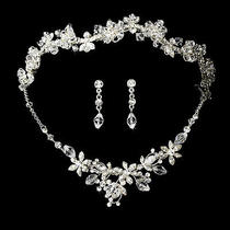 Silver Swarovski Crystal Couture Bridal Necklace Earring & Tiara Wedding Set Photo