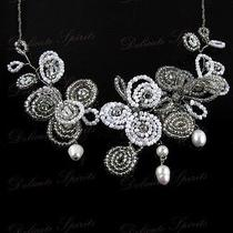 Silver Swarovski Element Beaded Floral Design Bridal Wedding Pendant Necklace Photo