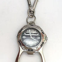 Silver Tone Key Ring Chain / Bottle Cup Opener With Watch Fossil Lot 240 Photo