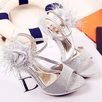 Silver White/shine Golden Open Toe Heels Bridal Ankle Strap Wedding Shoes Size  Photo