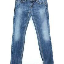 Silver Womens Blue Aiko Skinny Medium Wash Straight Leg Denim Jeans Size 29 Photo