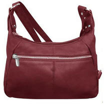 Silverfever Leather Genuine Cowhide Cross Body Shoulder Hobo 2 Entry Wine Photo