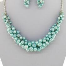 Silvertone Aqua Pearl Cluster Necklace and Earrings Set. Photo