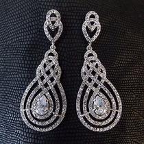 Silvertone Bridal Chandelier Earrings Made W/ Swarovski Crystal Wedding Glamour Photo