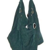 Simone Camille Handbag Large Tote Hobo Deep Teal Suede Fringe Ornaments Photo