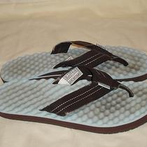 Simple Brand Flip Flops Sandals Size Excellent Condition Aqua Blue Brown Simple Photo