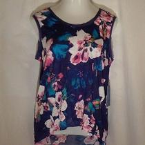 Simply Vera by Vera Wang Crinkle Tank Top Shirt Floral Size Medium New Photo