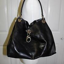 Simply Vera Vera Wang Black Faux Leather Hobo Shoulder Handbag Tote Chic Photo