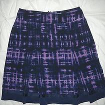 Simply Vera Vera Wang Black Navy Purple Tie Dye Pleat Skirt Back Zipper 4 Photo