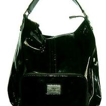 Simply Vera Vera Wang Black Patent Vegan Leather Hobo Tote New Mannequin Model Photo