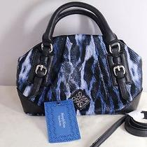 Simply Vera Vera Wang Blue Snakeskin Animal Print Handbag Purse New With Tag Photo