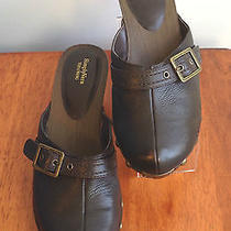 Simply Vera Vera Wang Brown Leather Buckle Clogs Guc Photo