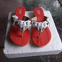 Simply Vera Vera Wang Gold Metallicwhite Bowwedge Flip Flop Sandals Size 7/8 M Photo