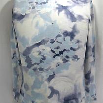 Simply Vera Vera Wang Knit Top Faded Blue Tye Dye Size Medium Long Sleeve  Photo