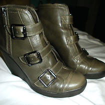 Simply Vera Vera Wang Olive Military Buckle Side Zip Wedged Booties Faux Leather Photo