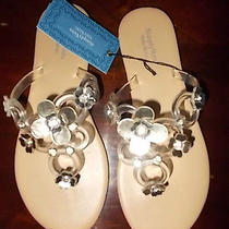 Simply Vera Vera Wang Silver/clear W/jewels Flip-Flops-Size-Small 5-6 Nwt Photo