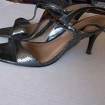 Simply Vera Vera Wang Strappy Snakeskin Print Heels Size 8 Brulee Silver Photo