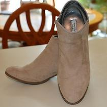 Simply Vera Vera Wang Taupe Suede Fabric Ankle Boots 6.5 M 1 3/4