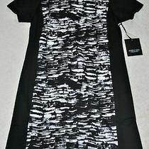 Simply Vera Vera Wang Women's Black Printed Short Sleeves Dress - Size S Photo