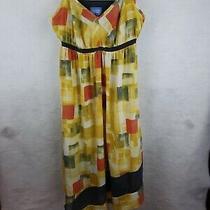 Simply Vera Vera Wang Yellow Gray Orange Asymmetrical Sundress L Photo