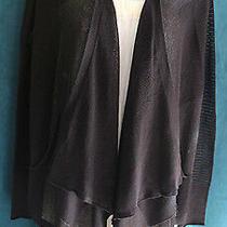 Simply Vera Wang Black Fine Mesh Open Sweater Sz S Draped Front Lightweight Chic Photo