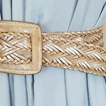 Simply Vera Wang Braided Boho Wide Belt India Natural Leather Silver Sz L Photo