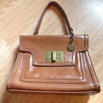 Simply Vera Wang Camel Tote Bag Antiqued Hardware Euc Photo
