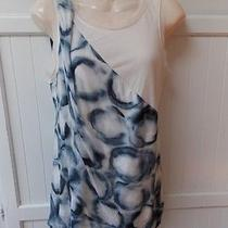 Simply Vera Wang Dark Blue Rings Cream Color Sleeveless Bubble Style Blouse M Photo