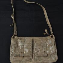 Simply Vera Wang Faux Croc Flap Handbag Bag Purse Beige Photo
